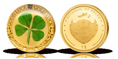 Guldmønt med firkløver - til den heldige eller én der ønsker at være det