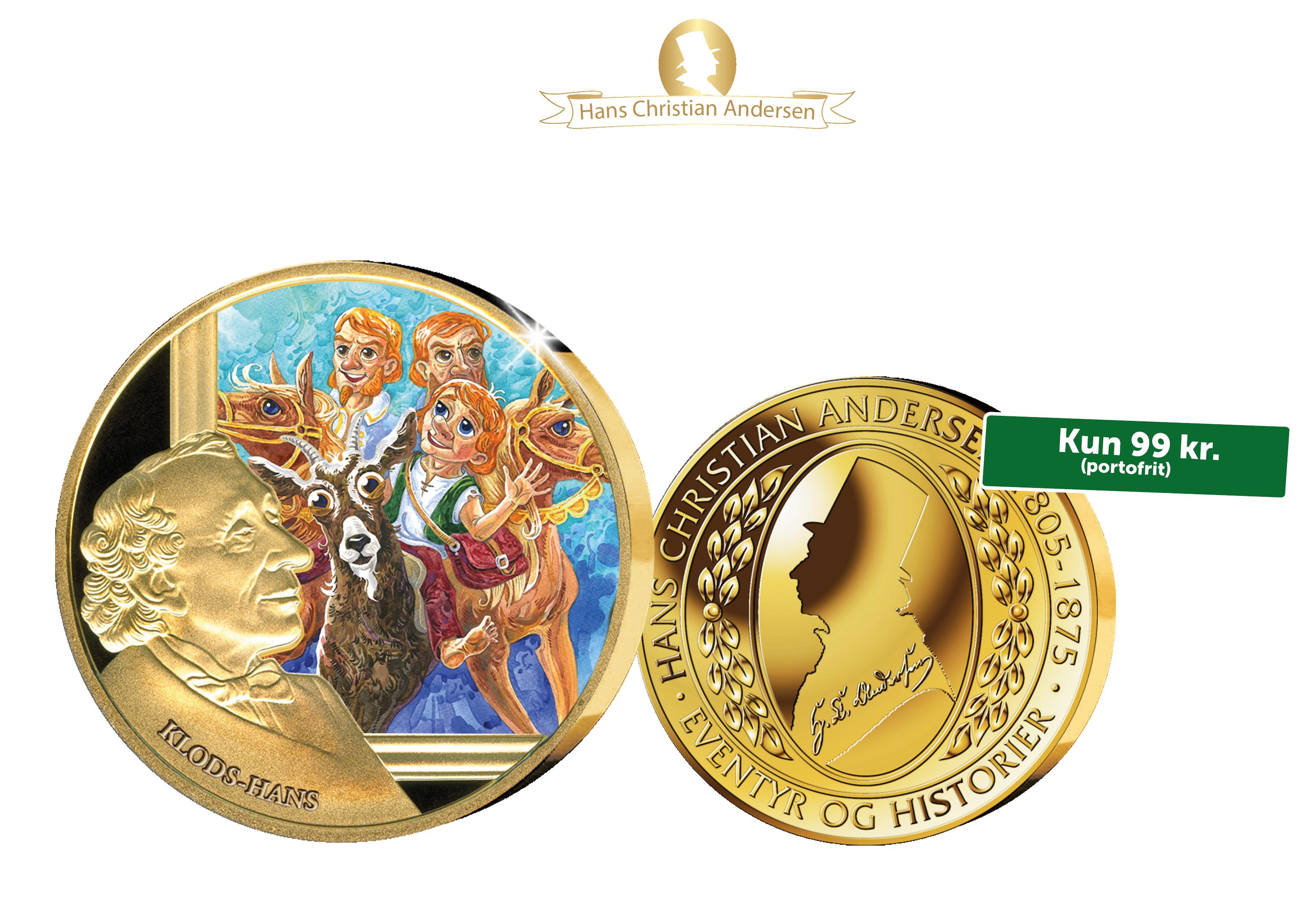 H. C. Andersen og de gode eventyr - Forgyldt medalje med Klods Hans.