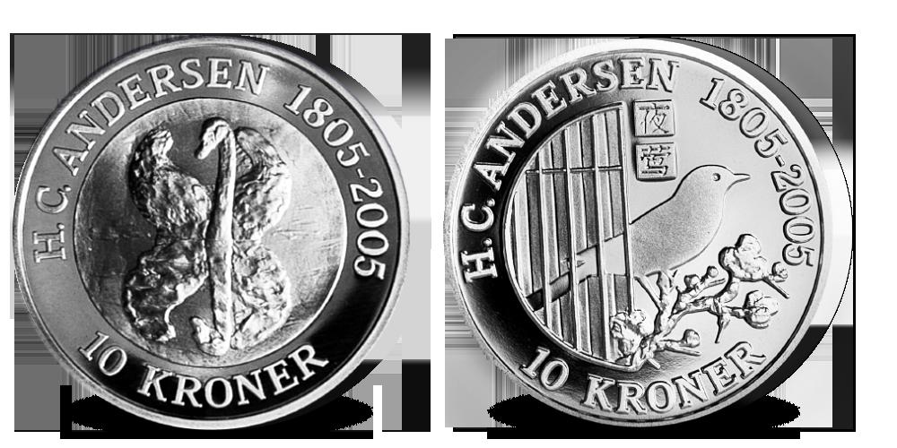 Eventyrmønter i sølv fra H.C.Andersens eventyr