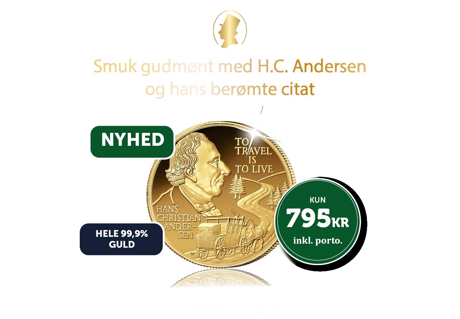 Verdens mindste guldmønt med H.C. Andersen
