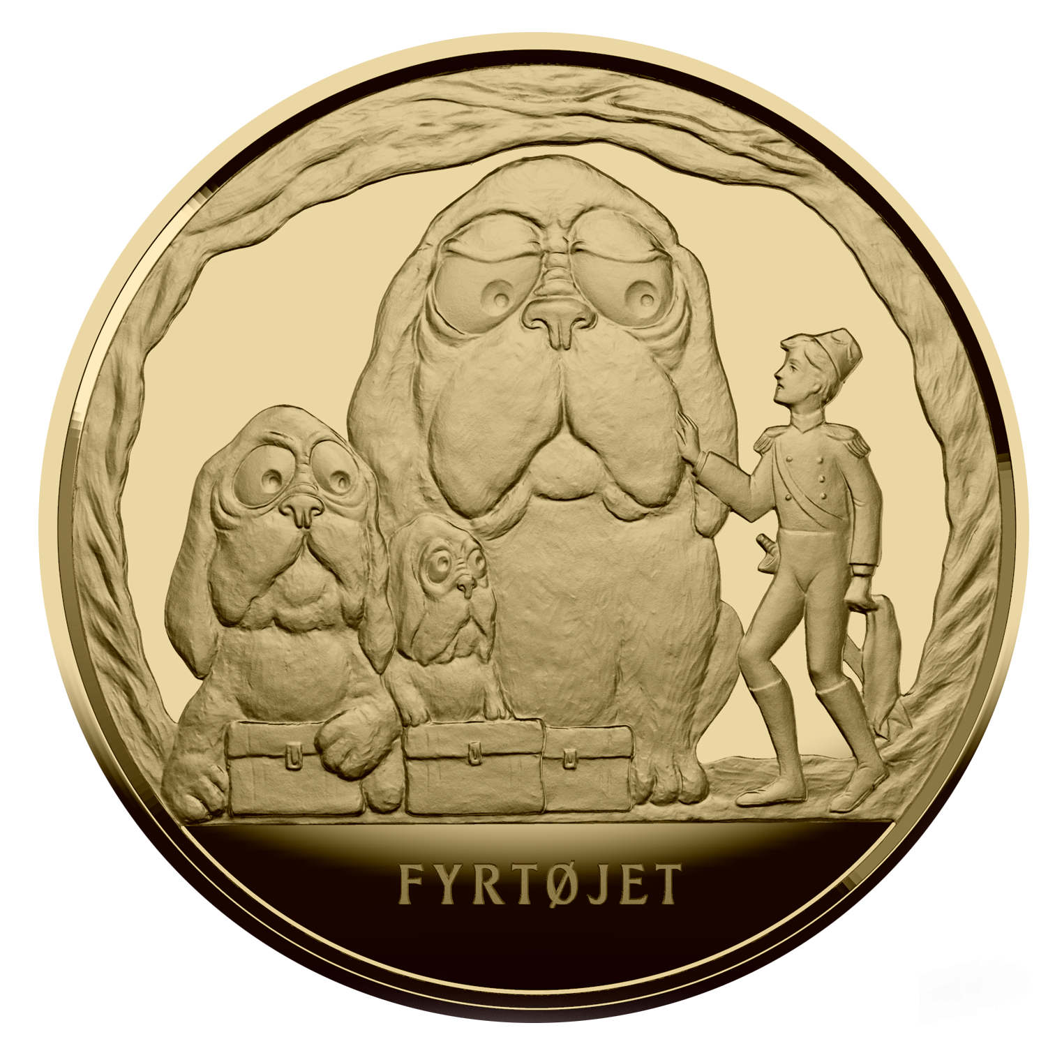 En flot, guldbelagt medalje med motiver fra eventyret Fyrtøjet til kun 149 kr. inkl. porto. Belagt med 99,9% fairmined guld, som er guld udvundet på bæredygtig og ansvarlig vis.