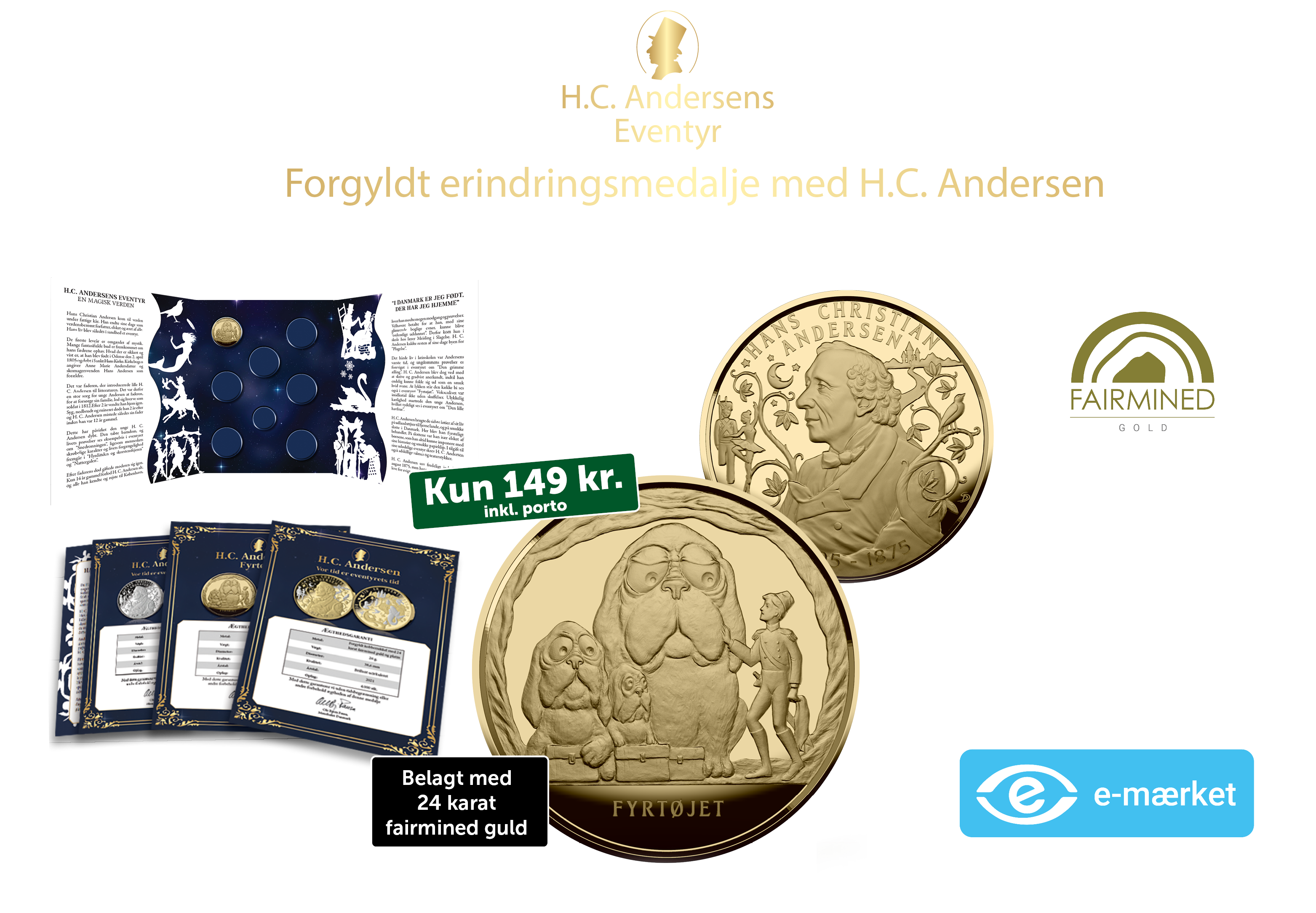"""H. C. Andersen """"Vor tid er eventyrets tid""""  - Løbende samling. Ingen binding. Du kan til enhver tid opsige din samling."""