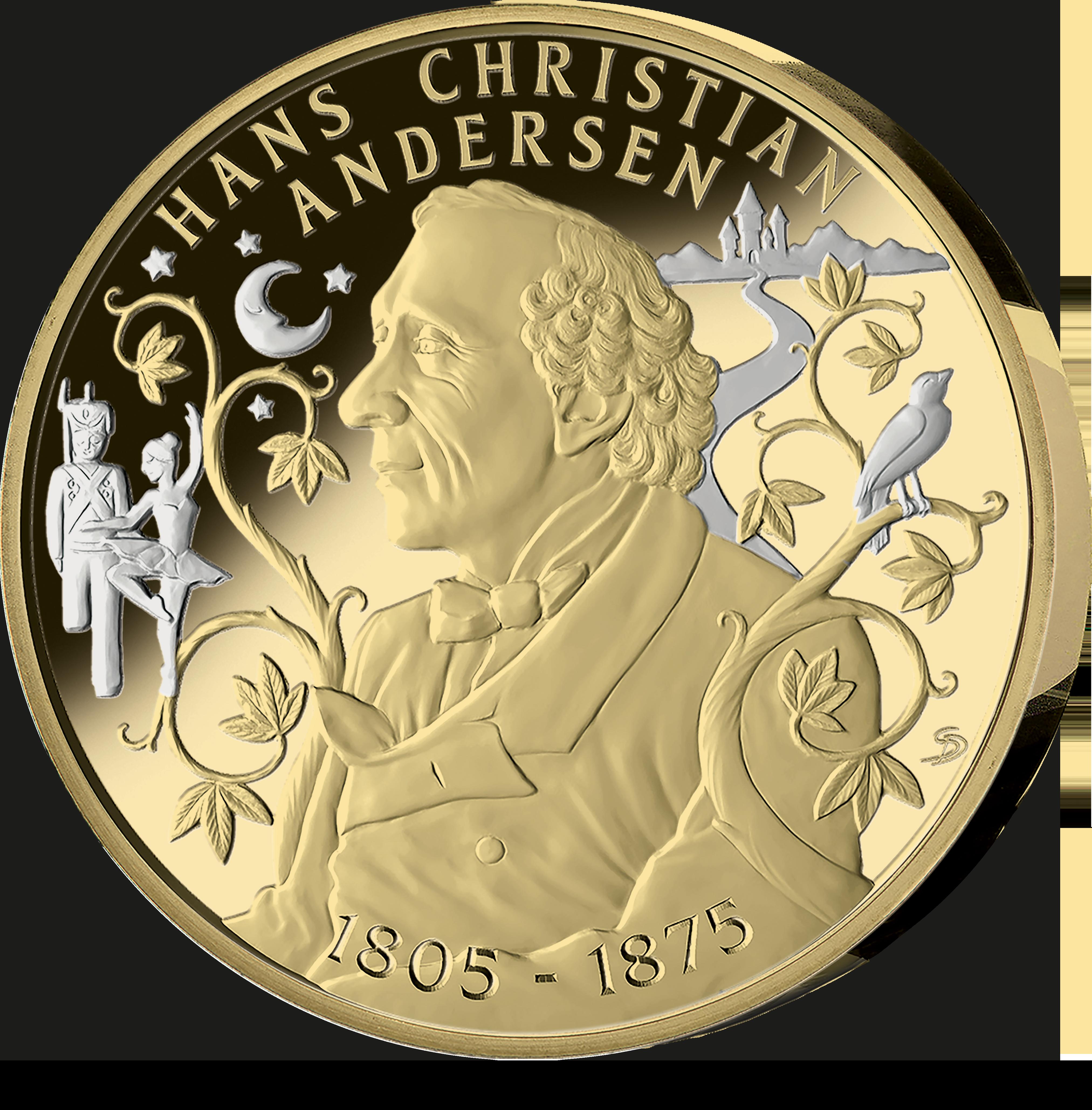 """En forgyldt erindringsmedaljen """"Vor tid er eventyrets tid"""" med H.C. Andersen præget i høj kvalitet (brillant ucirkuleret)"""