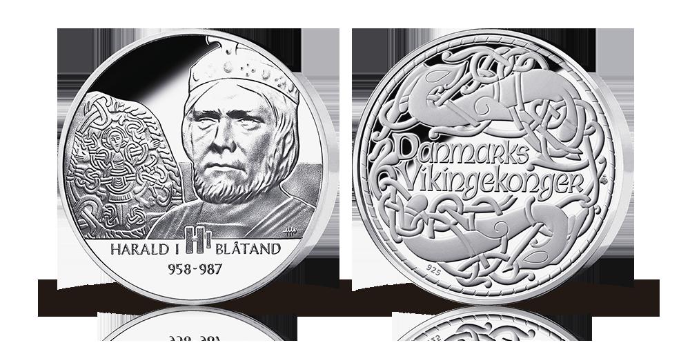 Medalje i 92,5% sølv med Harald Blåtand