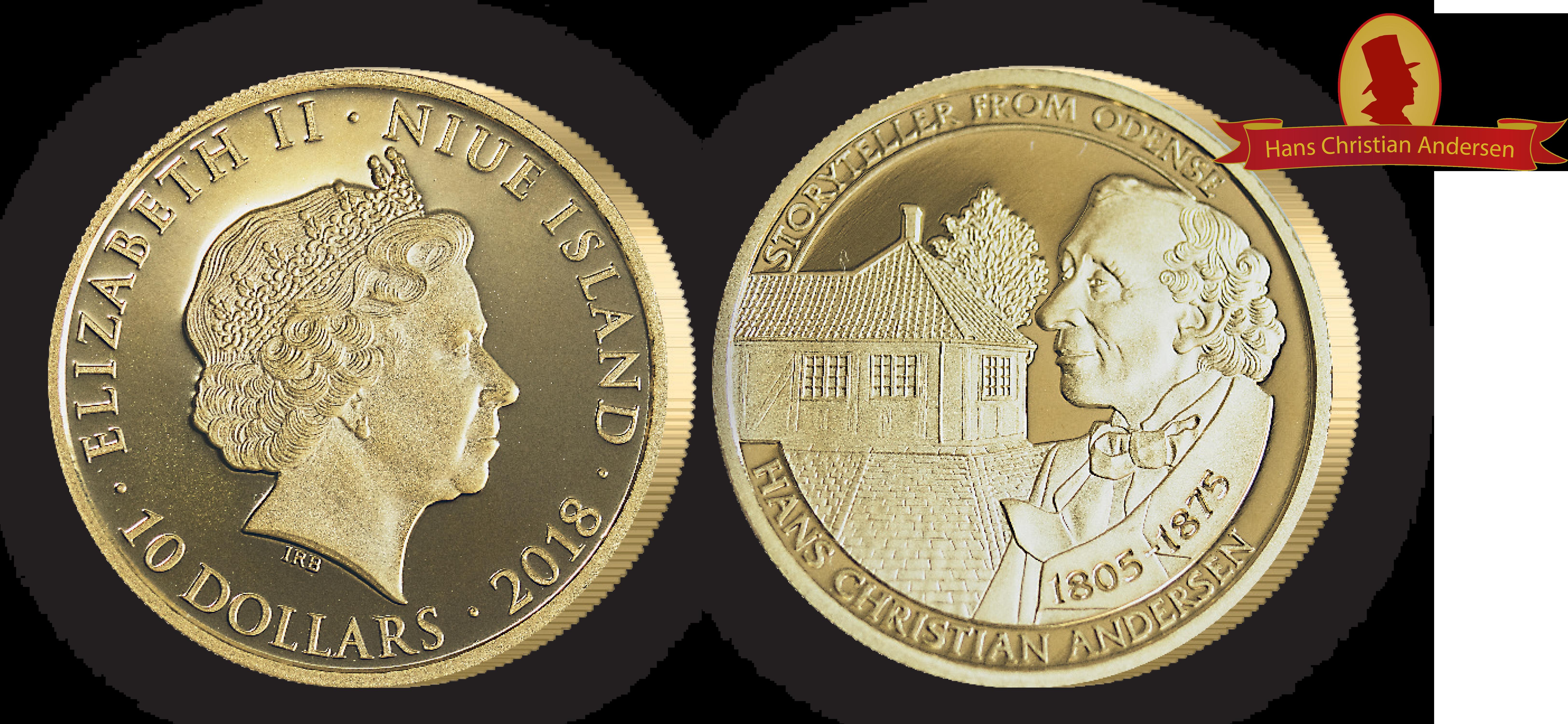 H.C Andersen Guldmønt - Første mønt med motiv af H.C Andersens hus i 99,9% guld