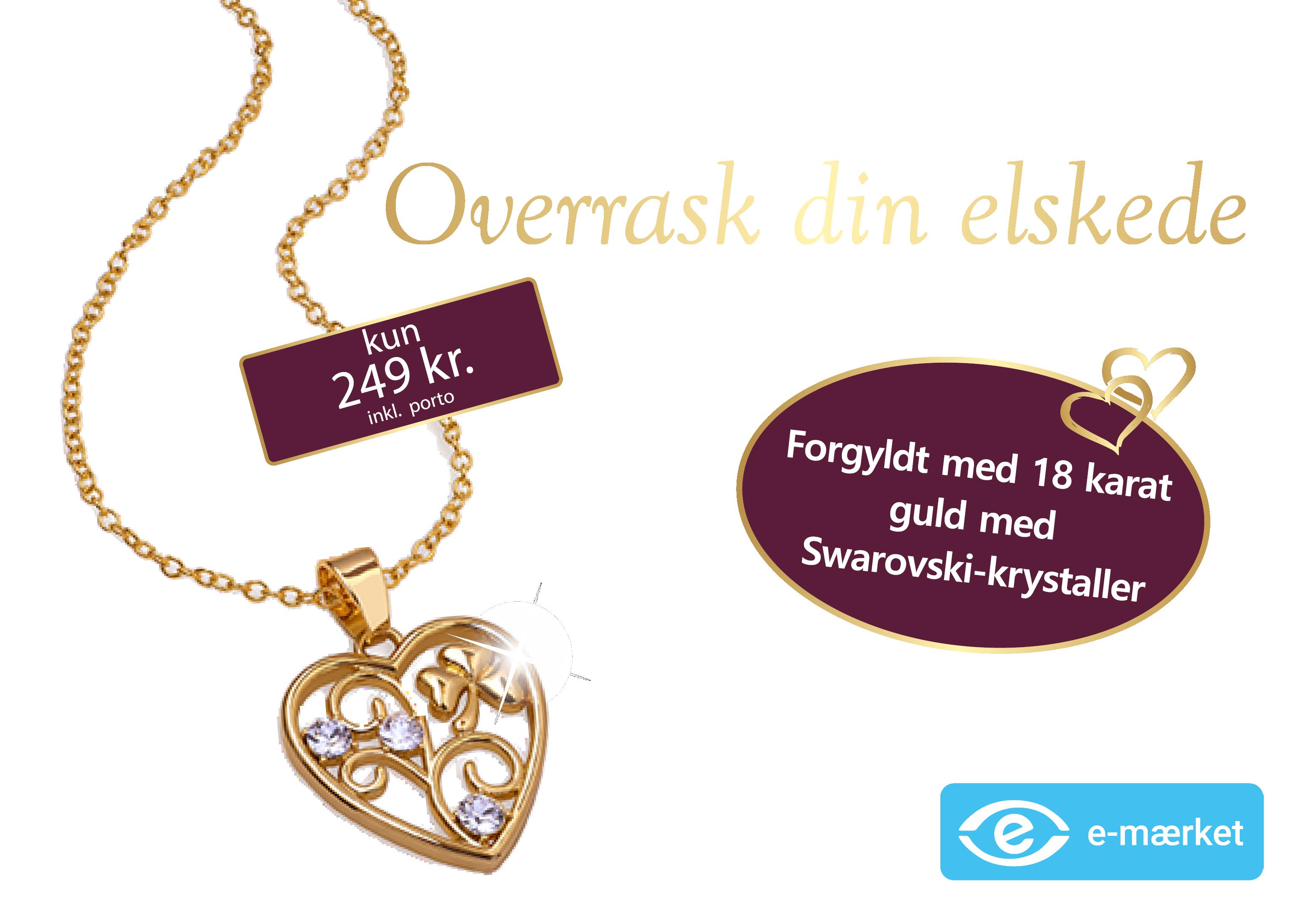 Forgyldt halskæde i 18 karat guld og med tre Swarovski-krystaller.