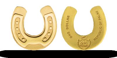 En lykkemønt formet som en guld hestesko