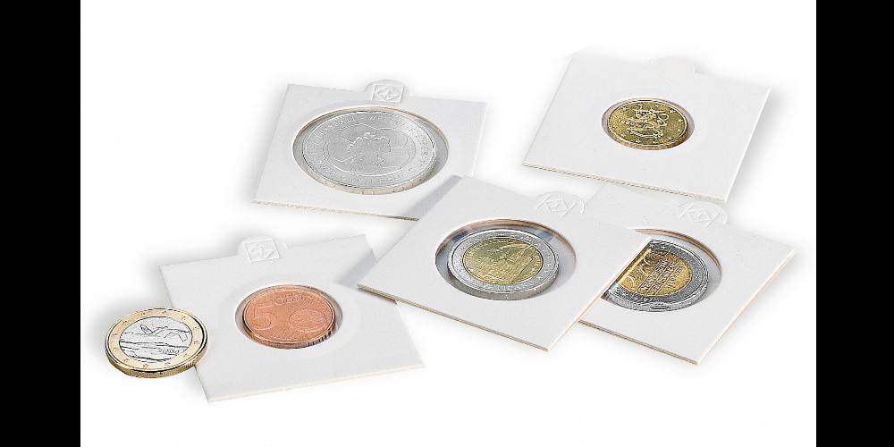 Hvide MATRIX møntholdere - Diameter: 27,5 mm pakke med 100 stk.