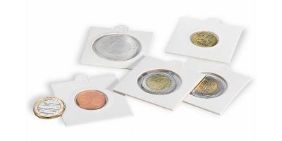 Hvide MATRIX møntholdere - Diameter: 37,5 mm pakke med 100 stk.