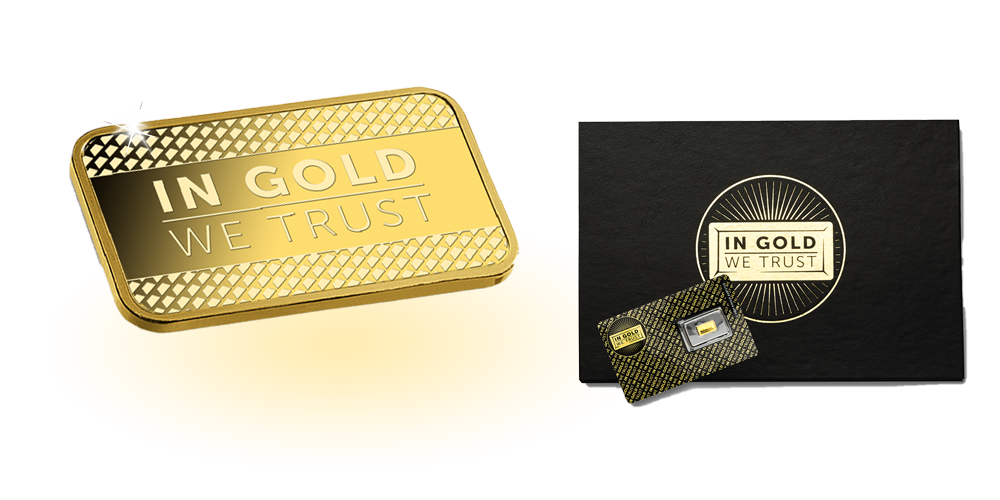 In gold we trust 1/100 oz guldbarre 2020 - I 24 karat guld!