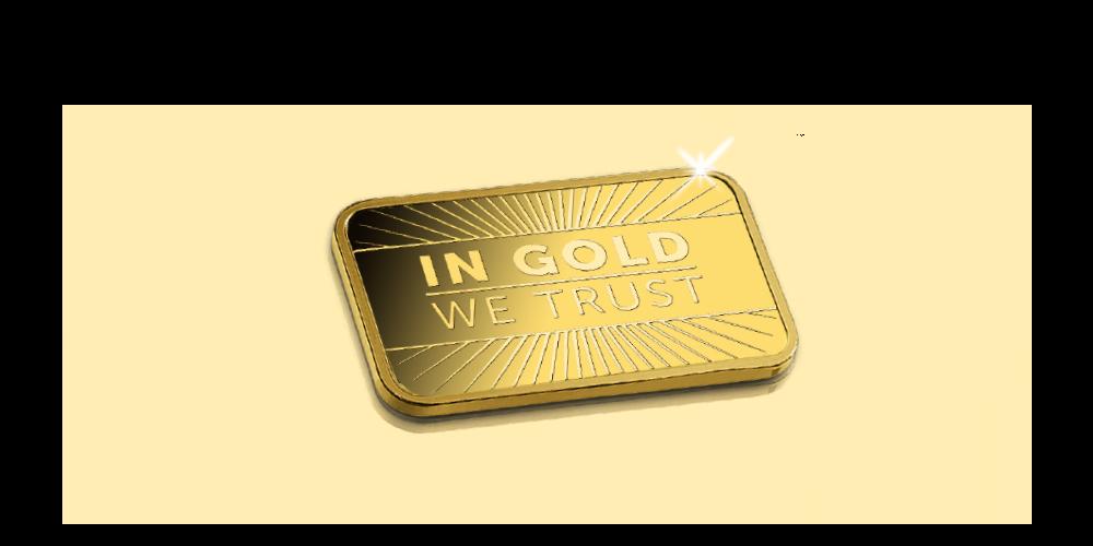 """En unik chance for at få din helt egen guldbarre til en fantastisk pris. Guldbarren er præget med teksten """"In Gold We Trust"""", og er fremstillet i kvaliteten proof"""
