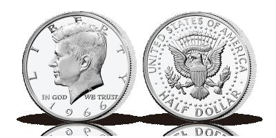 Amerikansk Mønthistorie - Præsident John F. Kennedy. Halvdollar i sølv