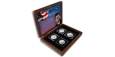 JFK kollektion med 4 mønter fra 1964-2014