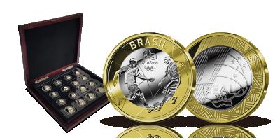 Komplet sæt med 16 mønter fra De Olympiske Lege i Rio de Janeiro
