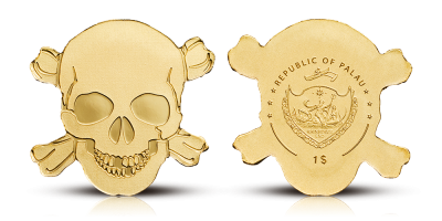 Mønt i 99,9 % guld med specielt design i form af et kranie