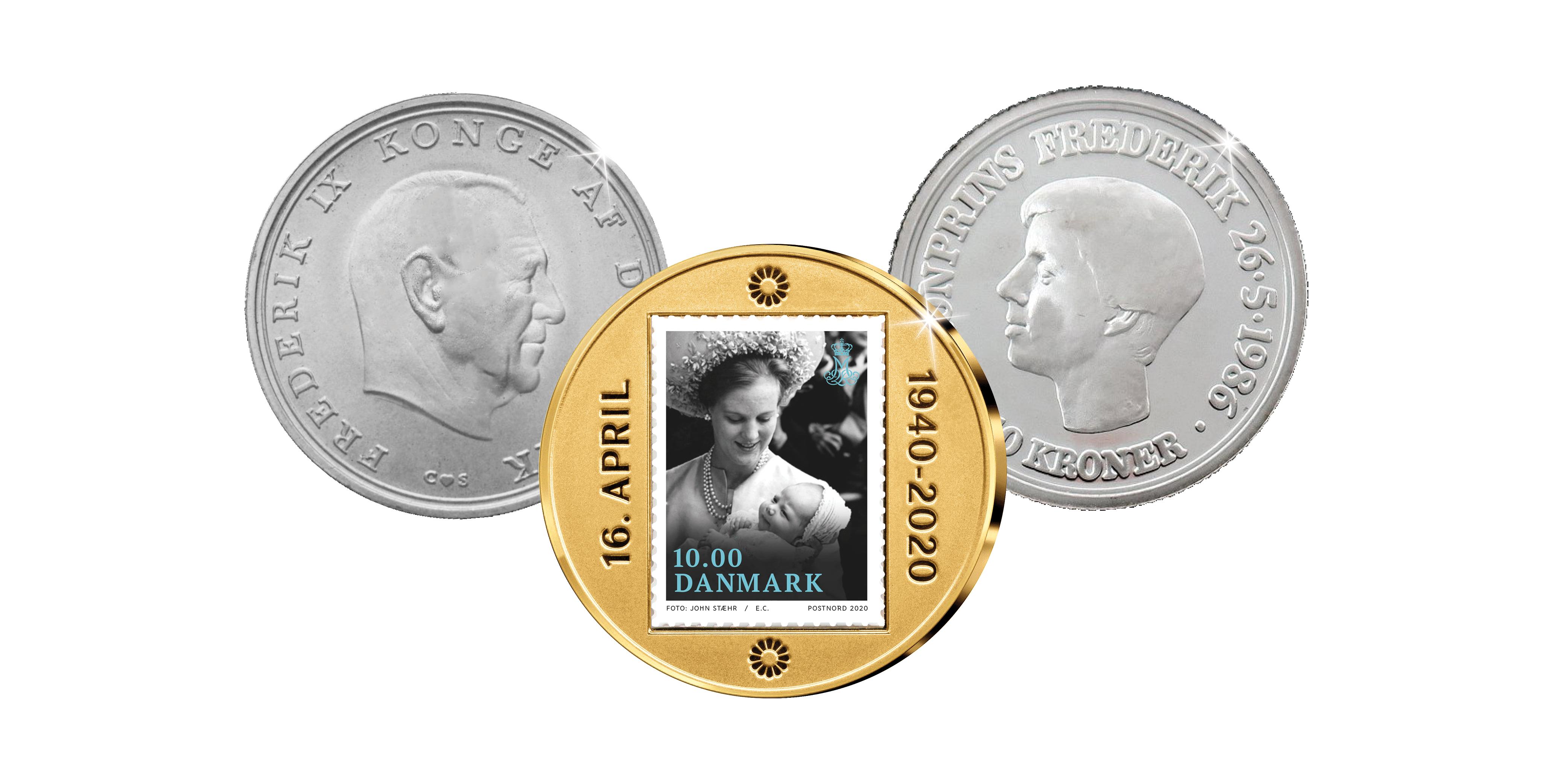 5-krone 1968 fra Kronprinsens fødselsår. 10-krone 1986 den sidste 10 kr. erindringsmønt udstedt i Danmark og hidtil eneste danske mønt, som portrætterer kronprins Frederik alene. Kronprins Frederiks dåb i 1968. Vores populære jubilæumsmedaljebelagt med 24 karat guld.