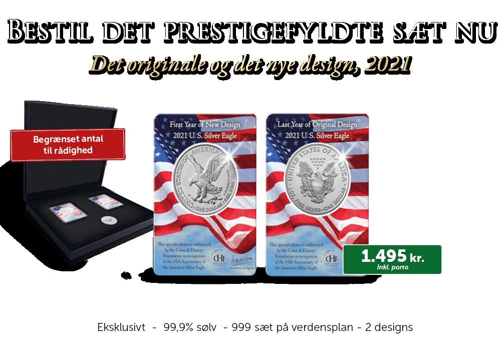 Silver Eagle; 2-mønt sæt med både originalt og nyt design (2021)