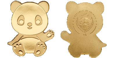 En lille guldmønt med panda som motiv
