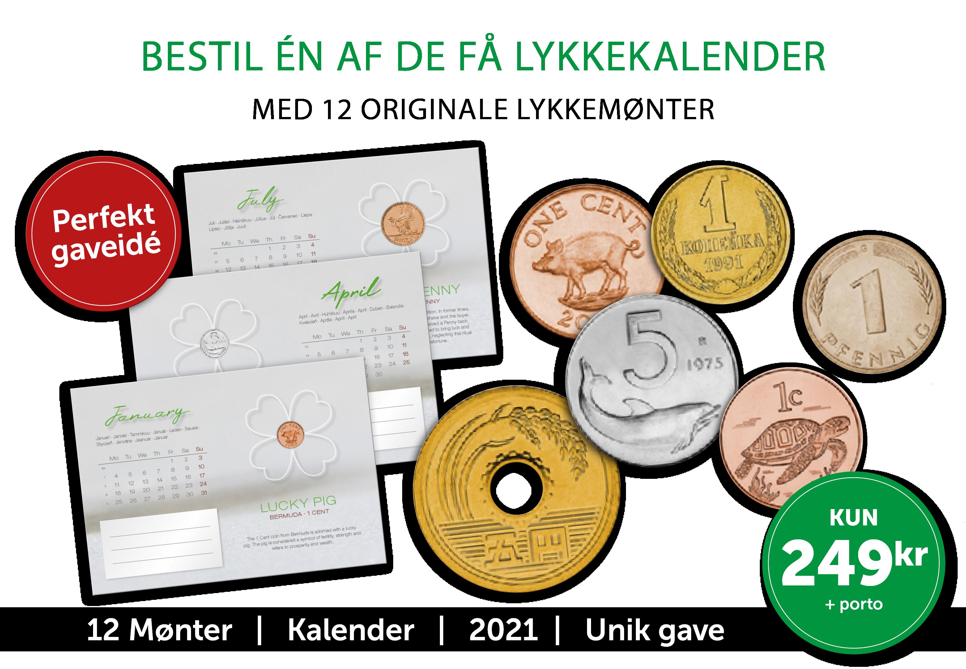 Lykke Kalender 2021 - En flot kalender med 12 lykkemønter fra hele verden