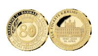 Margrethe 80 år - forgyldt erindringsmedalje og informationsmappe
