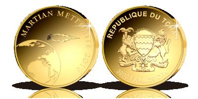 Guldmønt med ægte fragment fra Mars