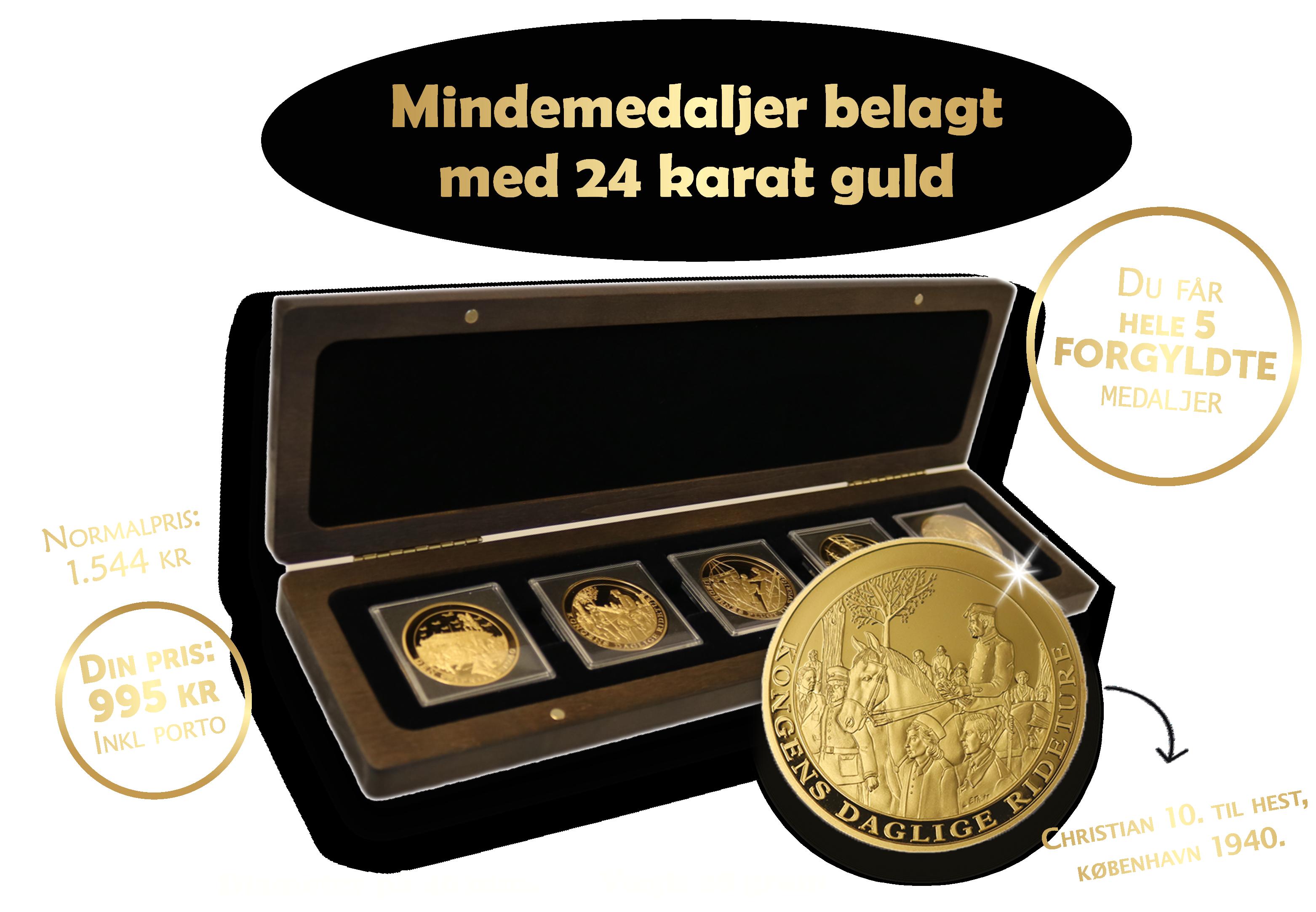 Danmark Under Besættelsen - 5 mindemedaljer belagt med 24 karat guld – kun 995 kr!