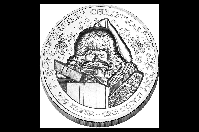 Smuk mønt lavet i 99,9 % sølv. Sølvmønten er præget med en julemand, sne og gaver, der sætter den rette stemning. En ideel mønt til at dekorere dit hjem på den smukkeste vis i juletiden