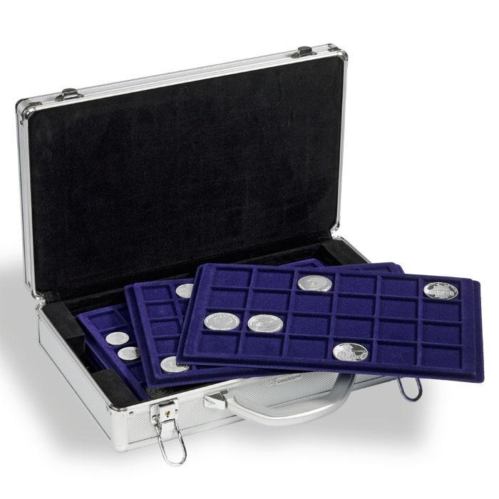 Kuffert med plads til 198 stk. mønter i forskellige størrelser