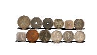 Historisk sæt med cirkulationsmønter fra Anden Verdenskrig
