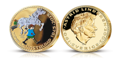 Pippi Langstrømpe 70 år,  forgyldt med 24 karat guld, farve og diamond dust!