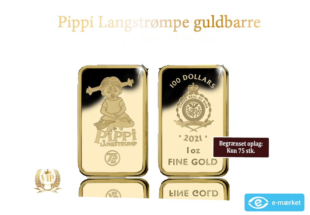 24 karat 1 oz guldbarre: Pippi Langstrømpe 75 år