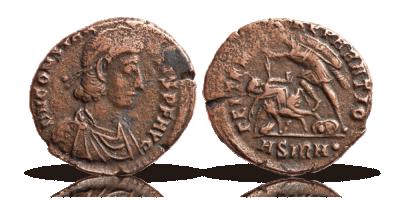 1700 år gammel bronzemønt fra Romerriget - den første mønt i en komplet samling på i alt 9 mønter