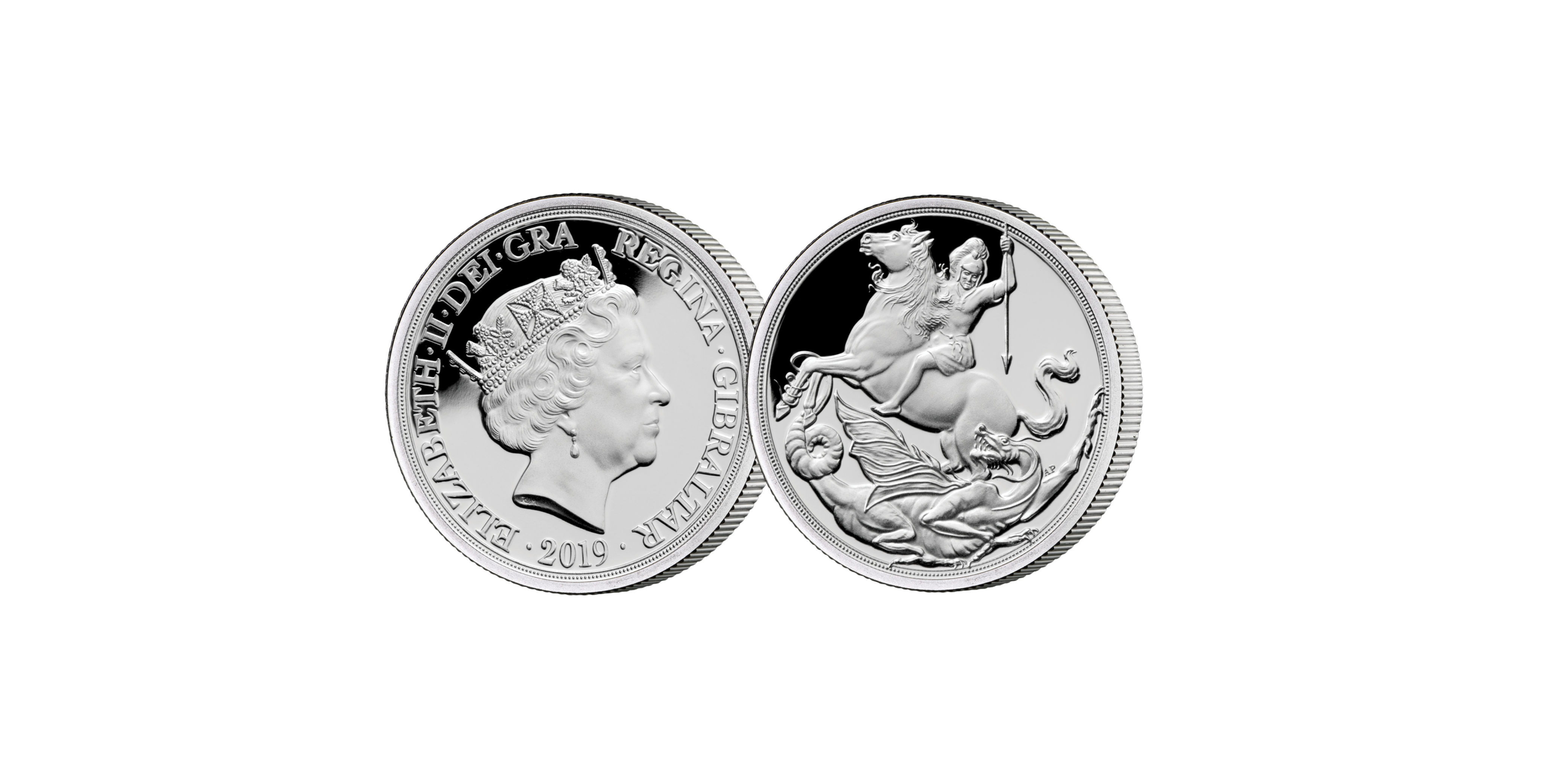 Den første Sovereign nogensinde, som er præget i rent sølv. Præget i rent sølv og designet af Angela Pistrucci
