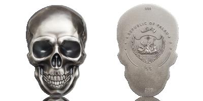 Mønt i 99,9 % sølv med specielt design i form af et kranie
