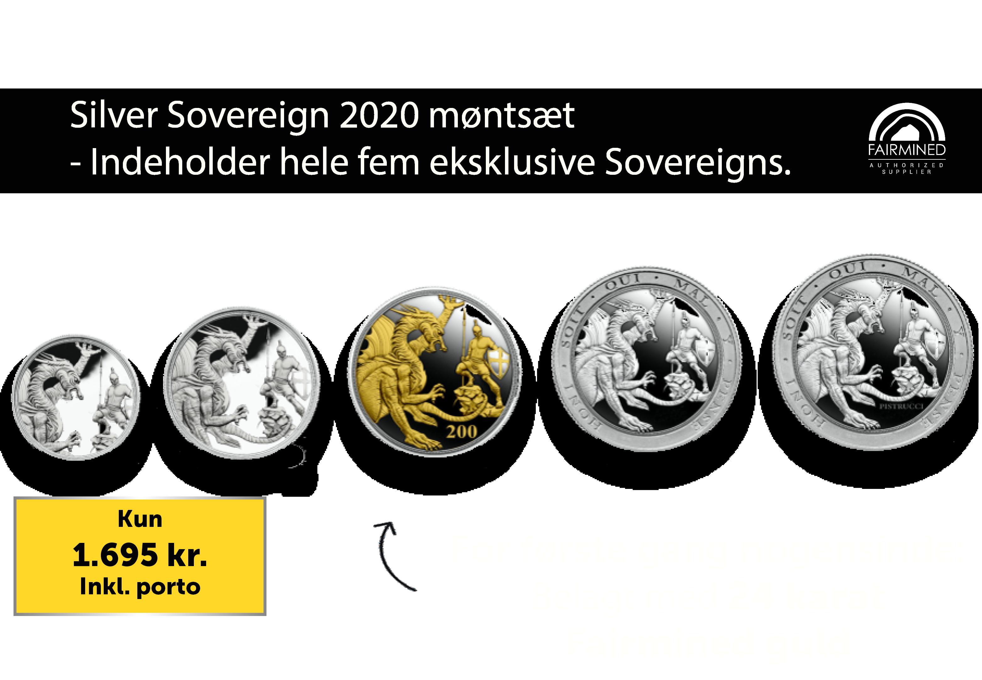 Silver Sovereign 2020 møntsæt som indeholder hele fem eksklusive Sovereigns.