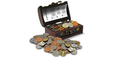 Skattekiste med 25 mønter