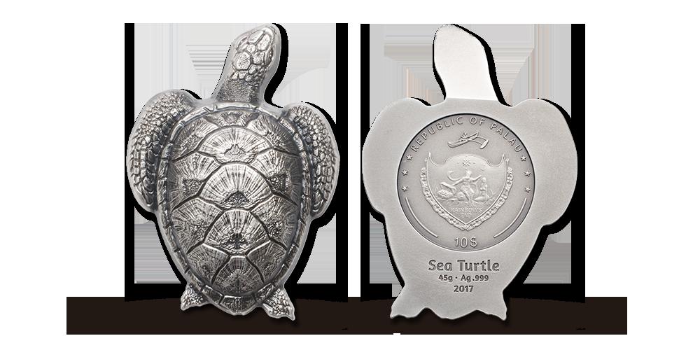 En sølvmønt i form af en havskildpadde