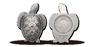 Enestående formet sølvmønt -  en magisk havskildpadde