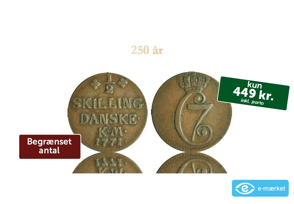Danske mønter: ½ skilling Christian VII 1771