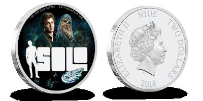 Han Solo og Chewbacca 1 oz sølvmønt