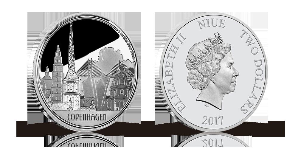 Stor sølvmønt til fejring af København -Hovedstaten fylder 850 år. 99,9 % sølv.