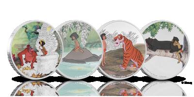 Fire flotte sølvmønter med motiver fra Junglebogen - baseret på Disneys klassiker fra 1967