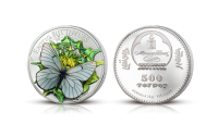 Forårets smukkeste mønt i 99,9 % sølv  – med sortåret hvidvinge i 3D