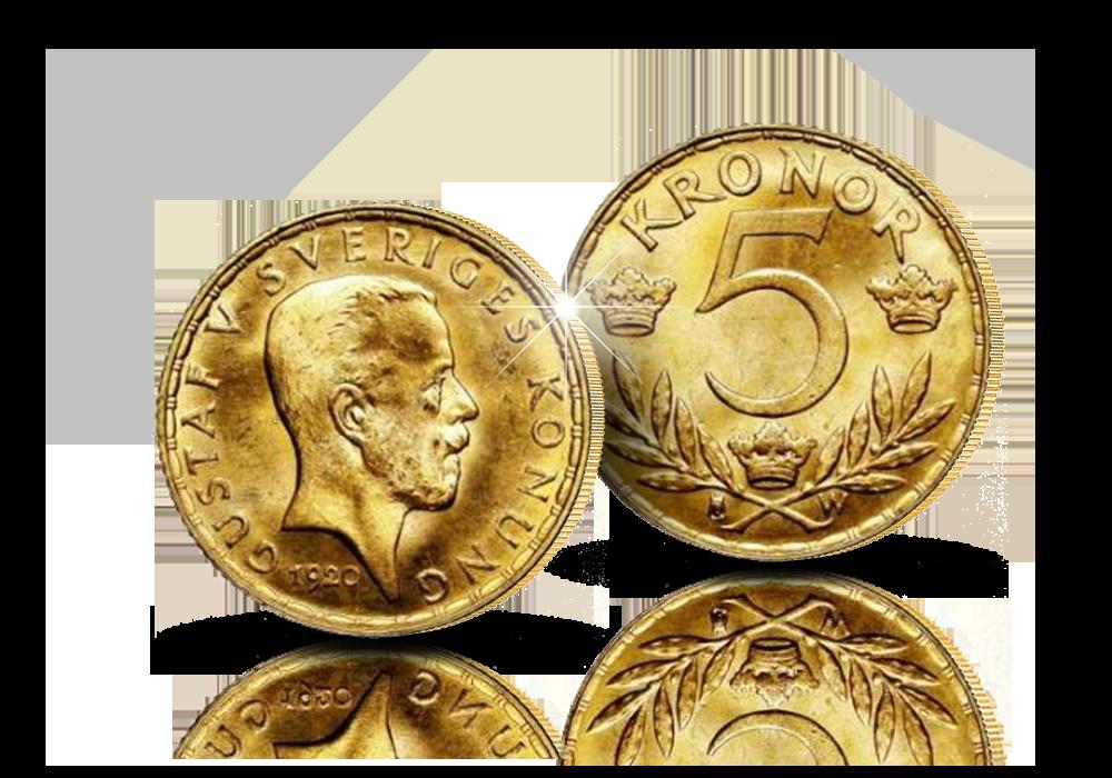 Præcis 100 år gammel ægte guldmønt med Dronning Margrethes morfar! - sidste 5 krone guldmønt fra 1920.