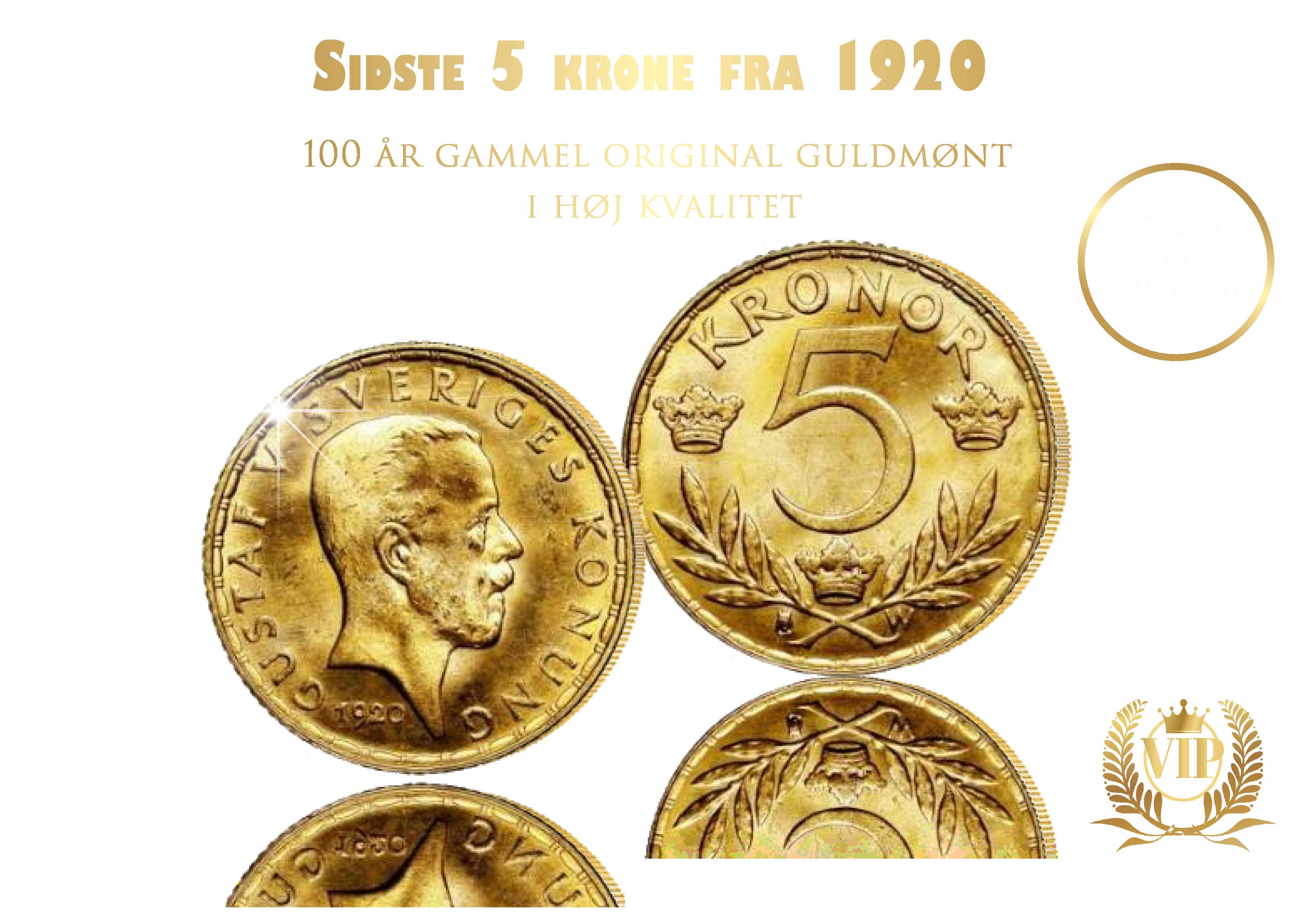 Den eneste 5-krone i guld med Dronningens bedstefar
