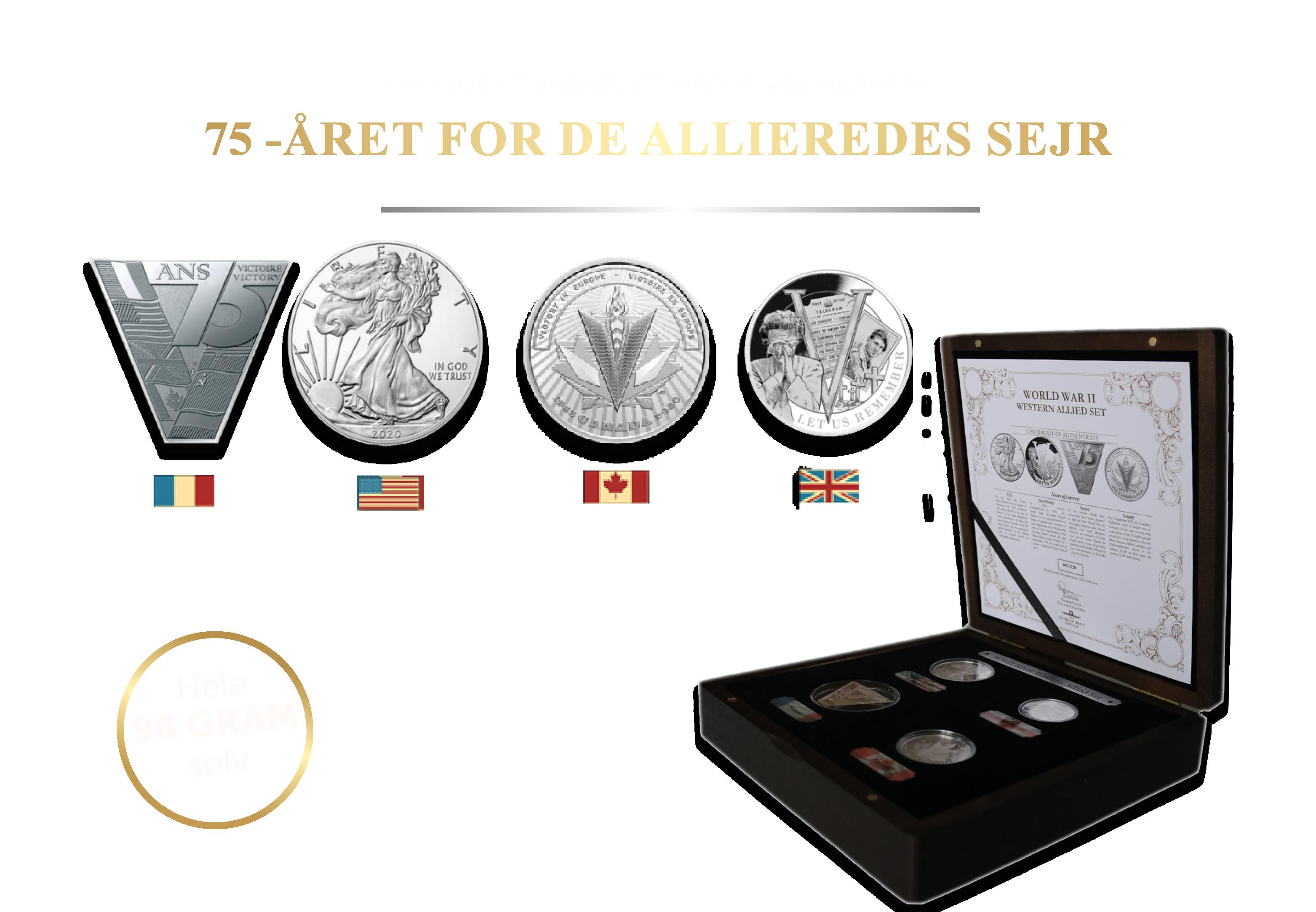 The 2020 WWII Western Allied - Fire flotte sølvmønter med en vægt på hele 98 gram sølv