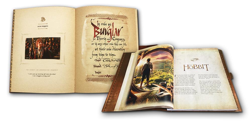 Bog med 37 smukke frimærker med motiver fra Hobbitten