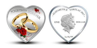 Together forever silver heart shaped coin 2017