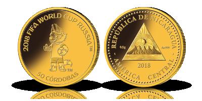 Verdens mindste guldmønt - FIFA 2018 99,9% mønt