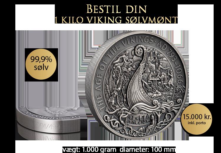 En enestående 1 kilo viking mønt på ikke mindre end 10 cm i diameter